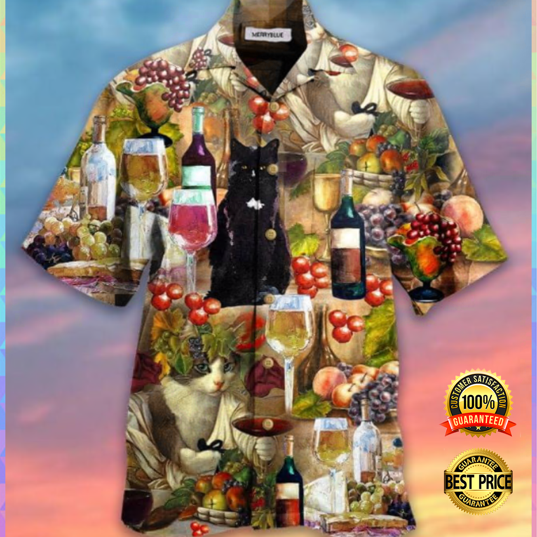 CAT AND WINE HAWAIIAN SHIRT 5