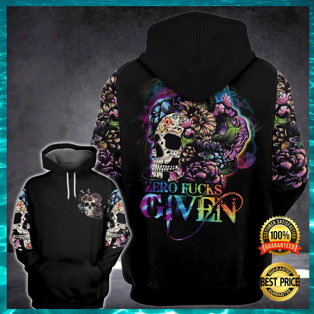 FLORAL SKULL ZERO FUCKS GIVEN ALL OVER PRINTED 3D HOODIE 6