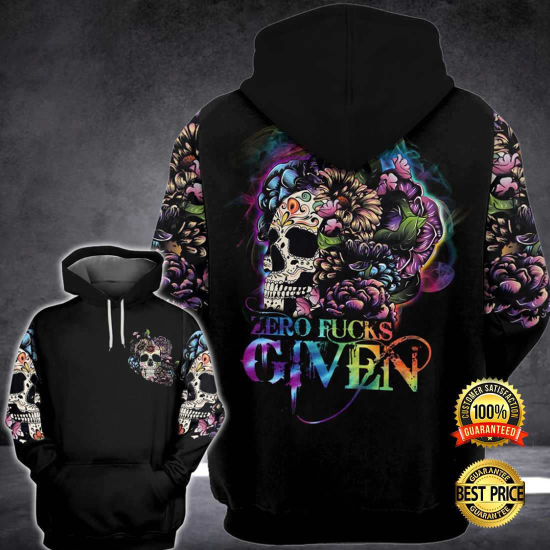FLORAL SKULL ZERO FUCKS GIVEN ALL OVER PRINTED 3D HOODIE 5