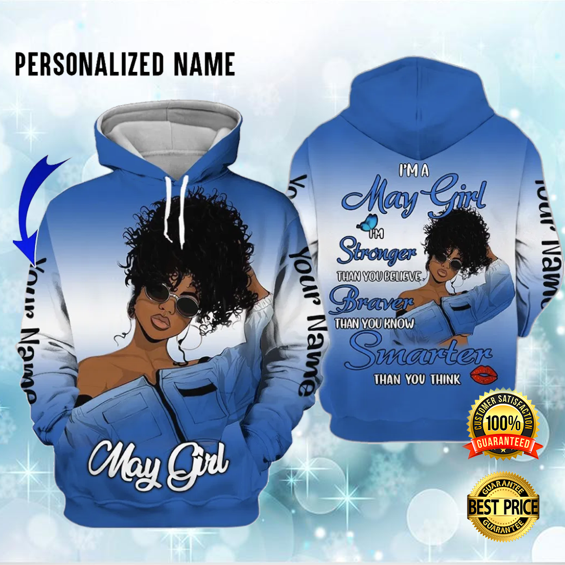 I'M A MAY GIRL I'M STRONGER THAN YOU BELIEVE ALL OVER PRINTED 3D HOODIE 6