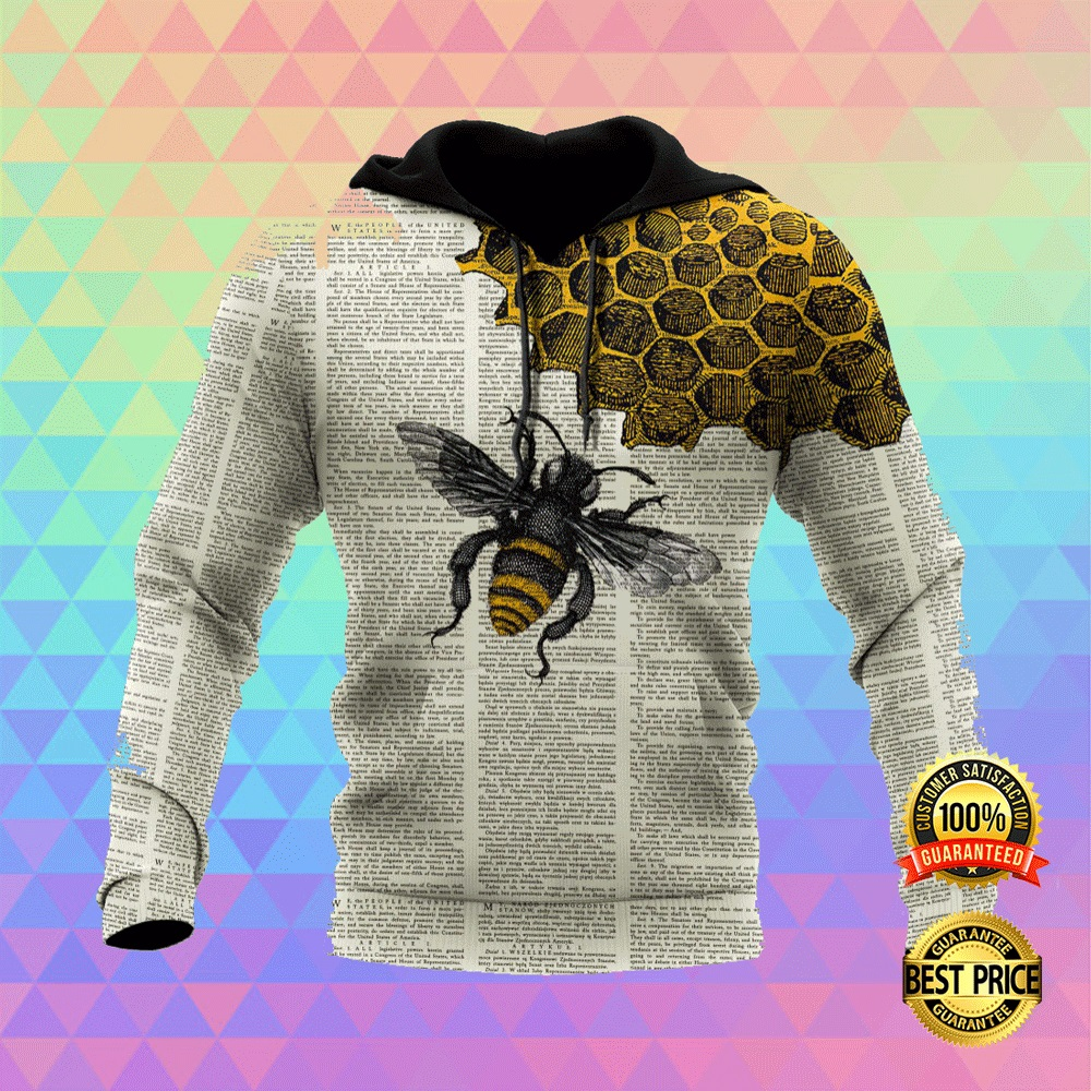 BEE DICTIONARY PAGE ALL OVER PRINTED 3D HOODIE 5