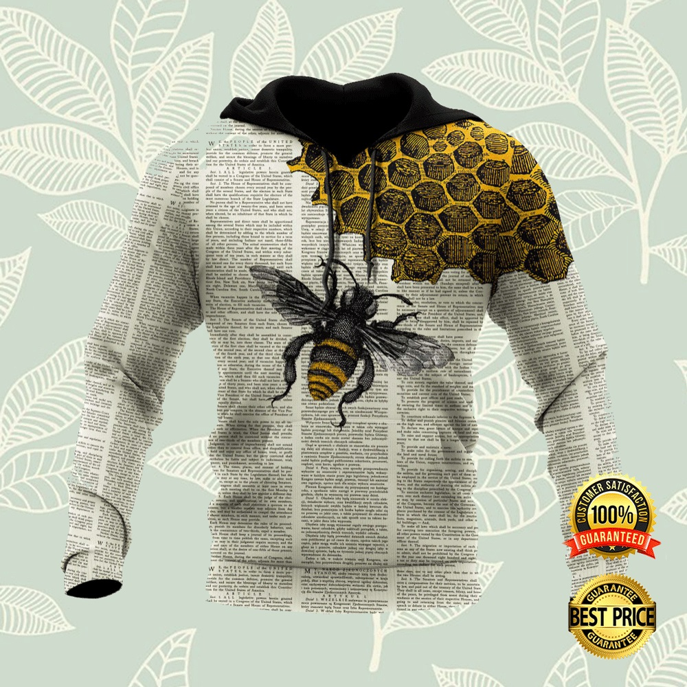 BEE DICTIONARY PAGE ALL OVER PRINTED 3D HOODIE 6