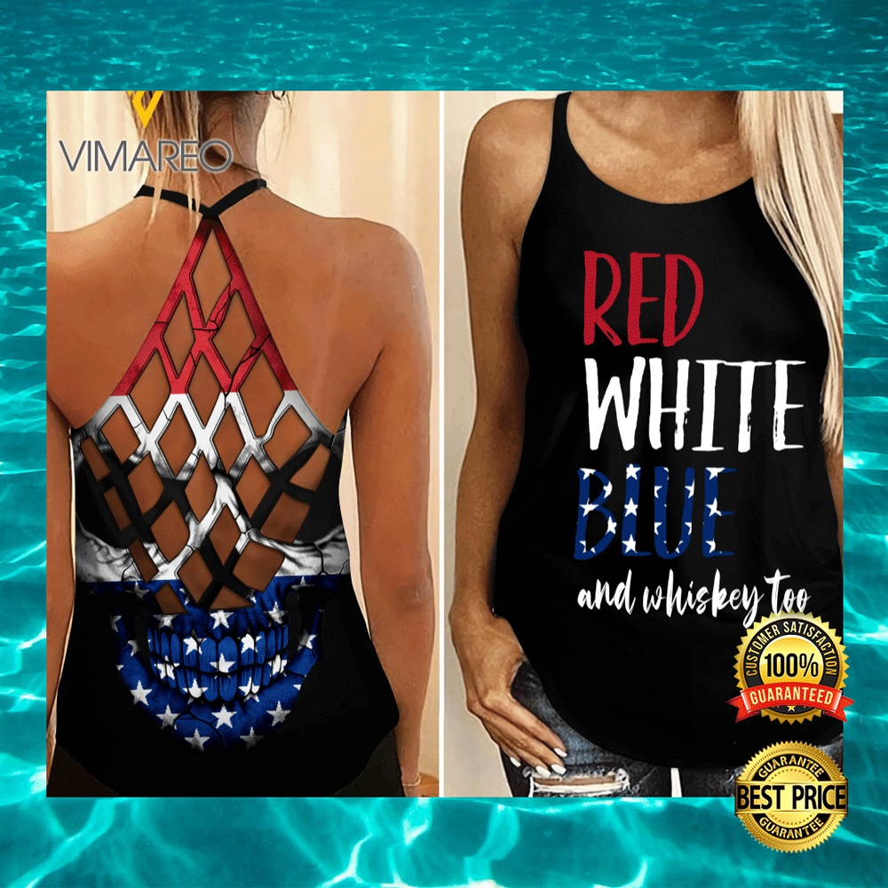 RED WHITE BLUE AND WHISKEY TOO CRISS-CROSS TANK TOP 5