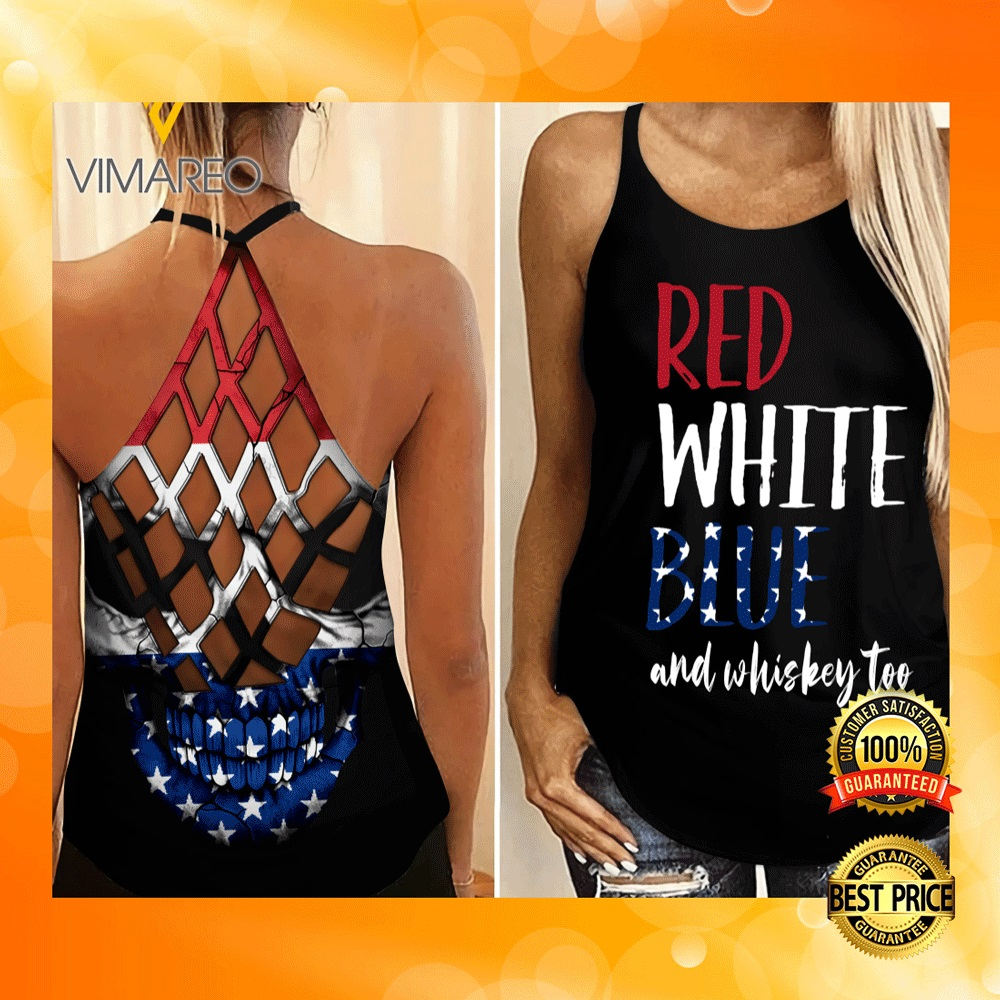 RED WHITE BLUE AND WHISKEY TOO CRISS-CROSS TANK TOP 6