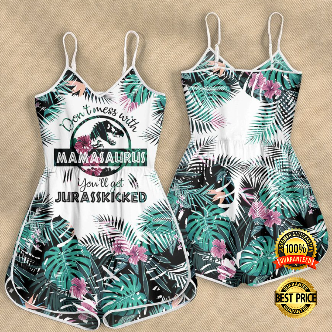 DON'T MESS WITH MAMASAURUS YOU'LL GET JURASSKICKED ROMPER 4