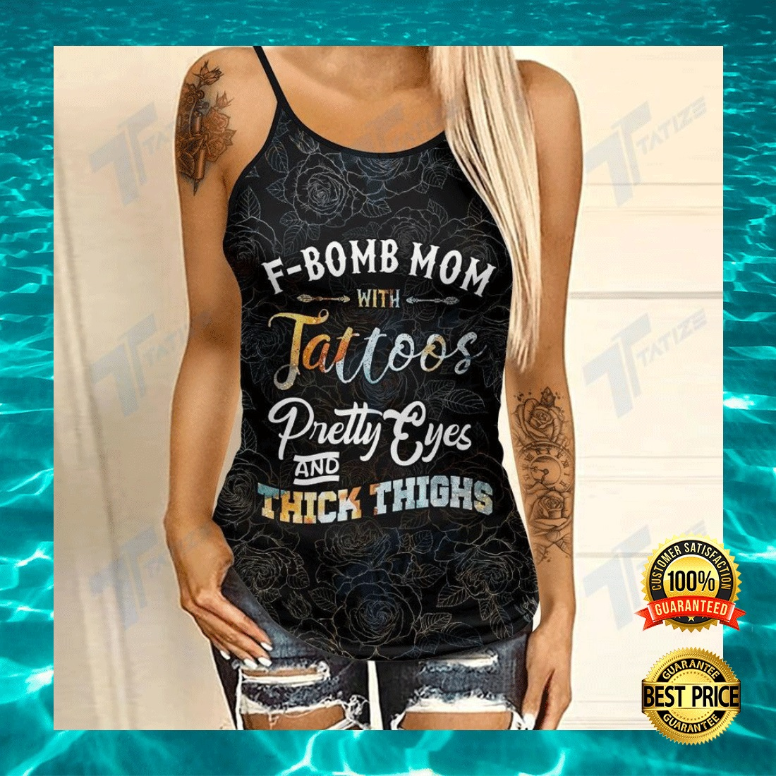 F-BOMB MOM WITH TATTOOS PRETTY EYES AND THICK THIGHS CRISS-CROSS TANK TOP 4