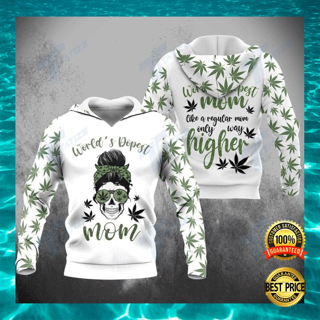 WEED WORLD'S DOPEST MOM ALL OVER PRINTED 3D HOODIE 5