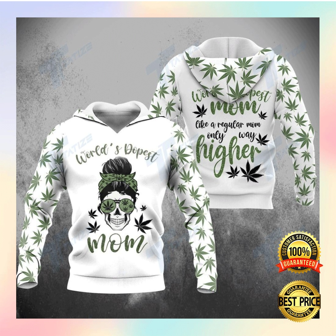 WEED WORLD'S DOPEST MOM ALL OVER PRINTED 3D HOODIE 6