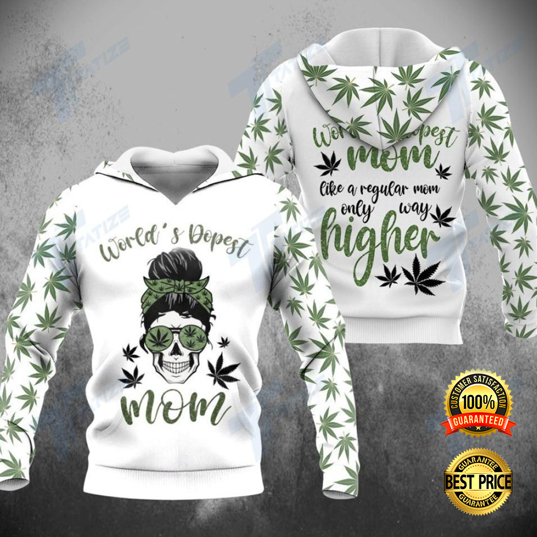 WEED WORLD'S DOPEST MOM ALL OVER PRINTED 3D HOODIE 4