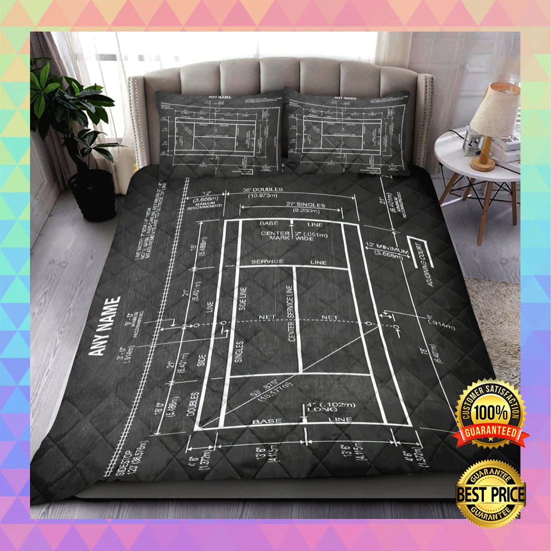 PERSONALIZED TENNIS COURT BEDDING SET 4
