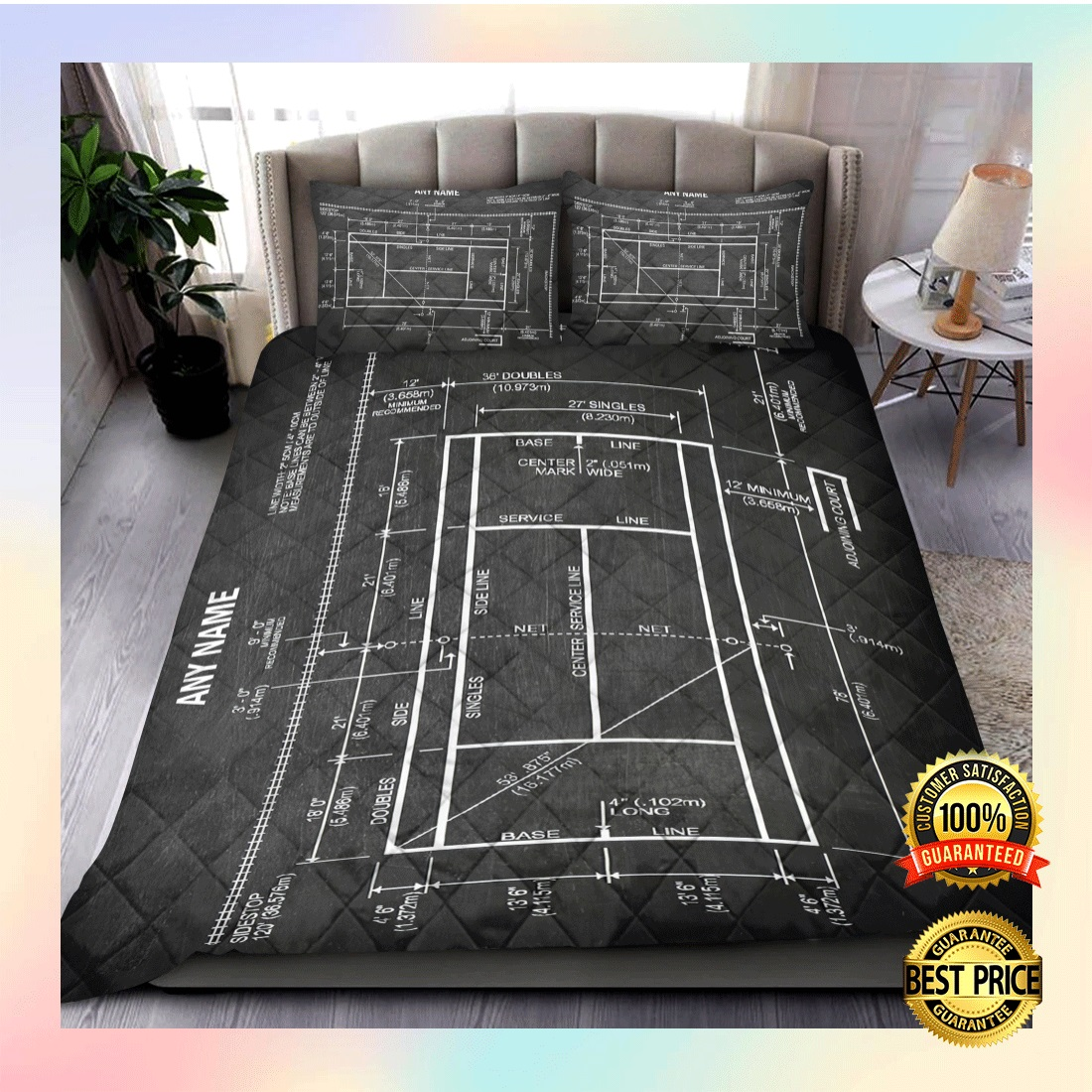PERSONALIZED TENNIS COURT BEDDING SET 6
