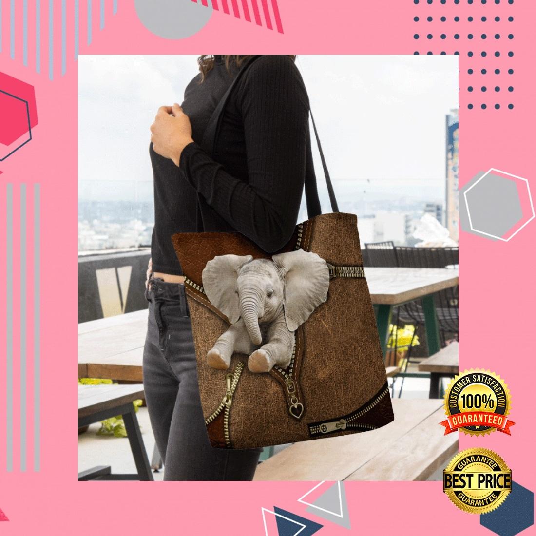 ELEPHANT ZIPPER TOTE BAG 5