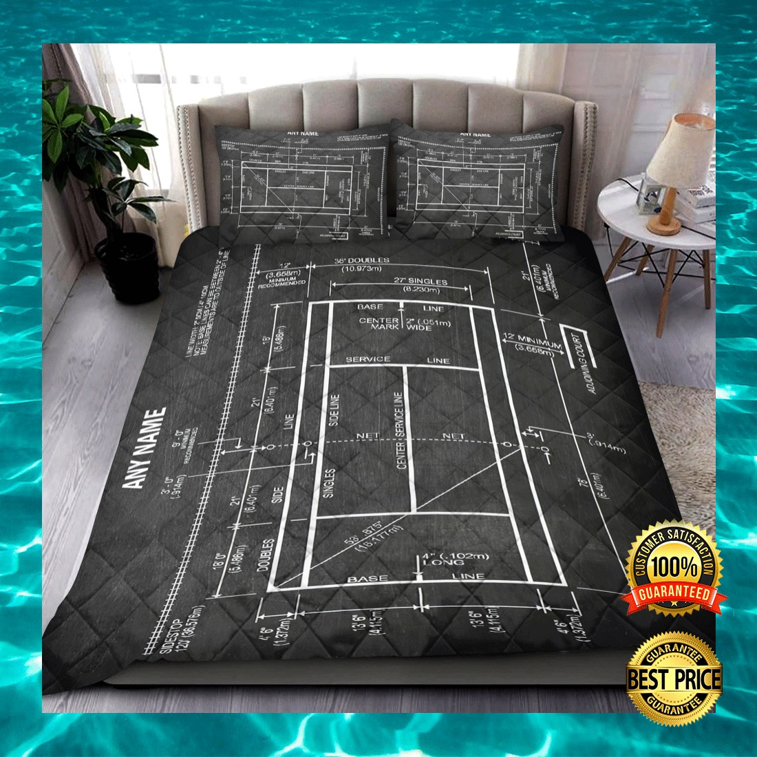 PERSONALIZED TENNIS COURT BEDDING SET 7