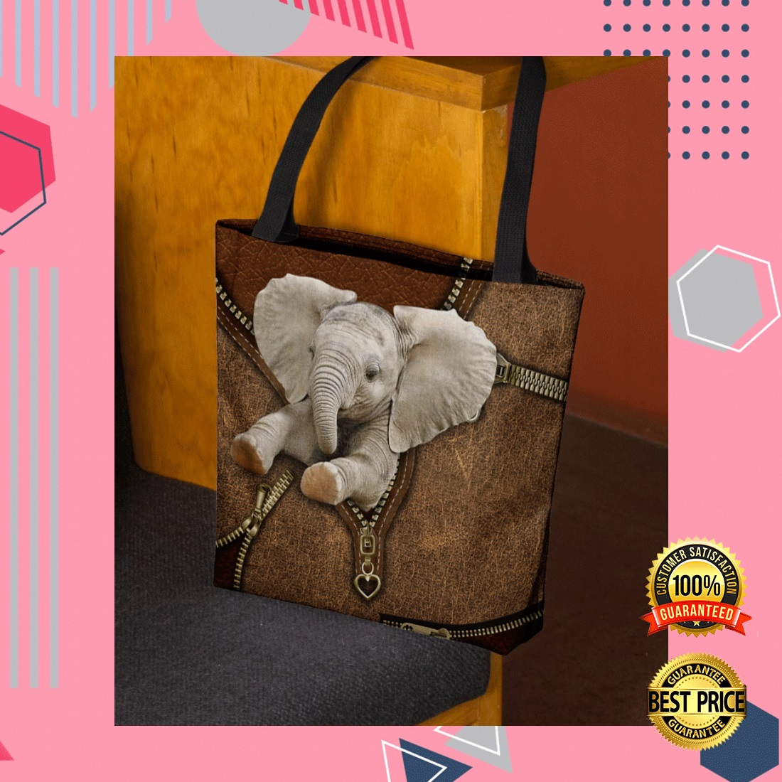 ELEPHANT ZIPPER TOTE BAG 4