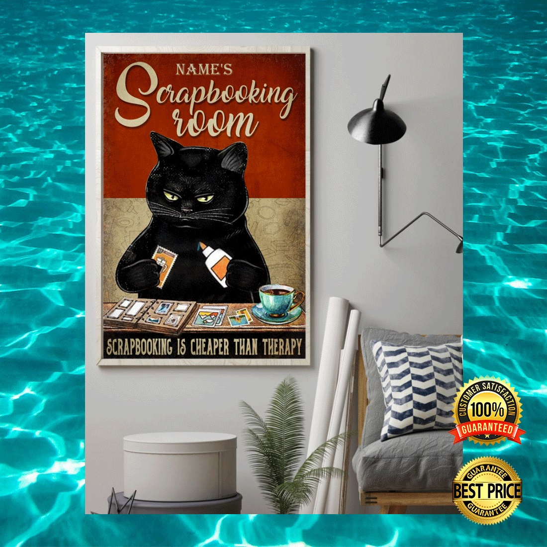 PERSONALIZED BLACK CAT SCRAPBOOKING ROOM POSTER 6