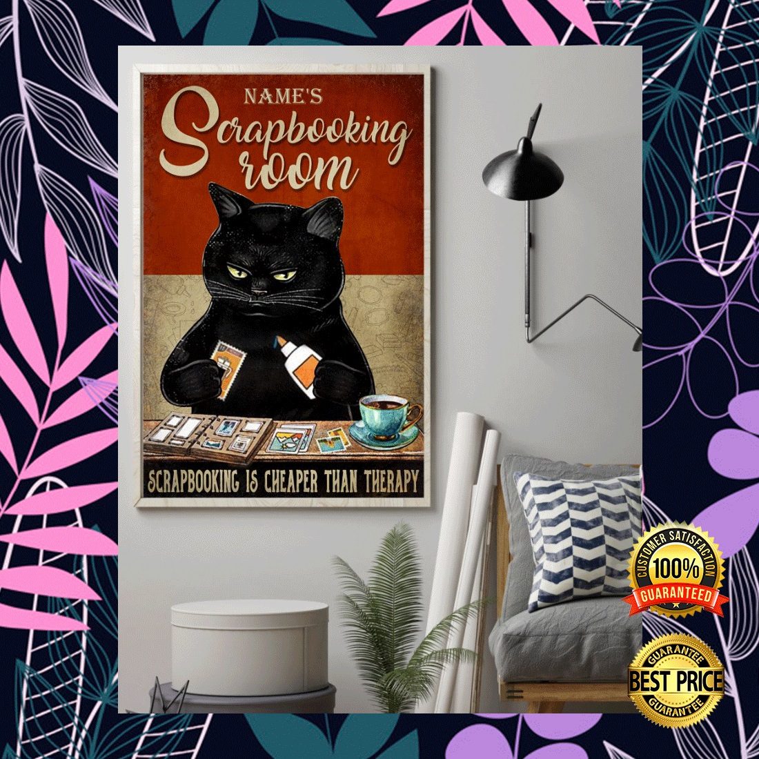 PERSONALIZED BLACK CAT SCRAPBOOKING ROOM POSTER 5