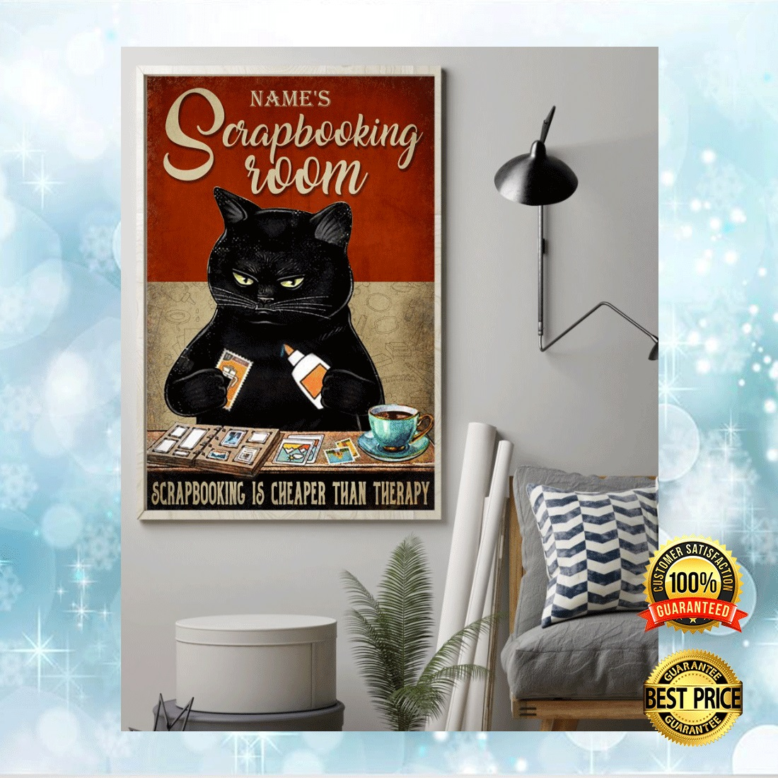 PERSONALIZED BLACK CAT SCRAPBOOKING ROOM POSTER 7