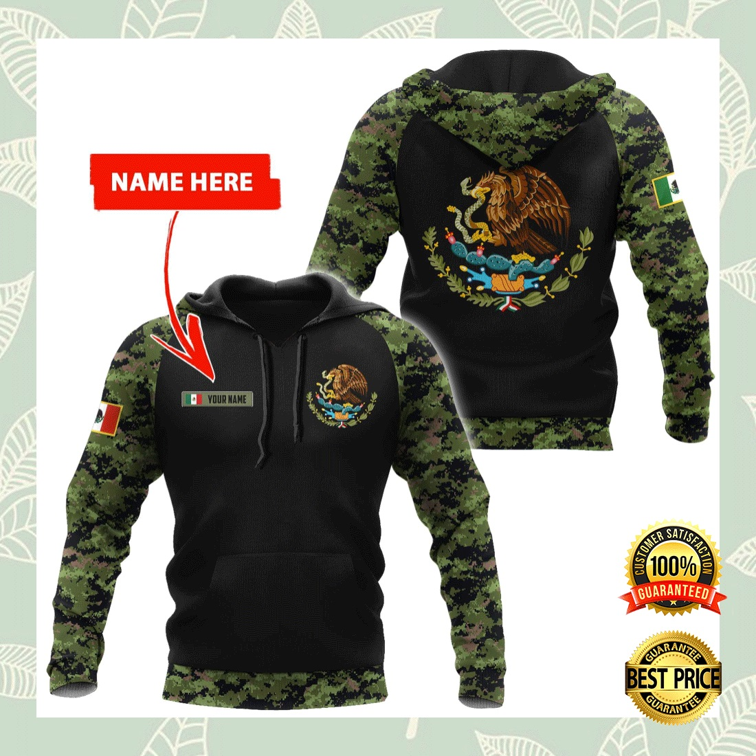 PERSONALIZED MEXICAN COAT CAMO ALL OVER PRINTED 3D HOODIE 6
