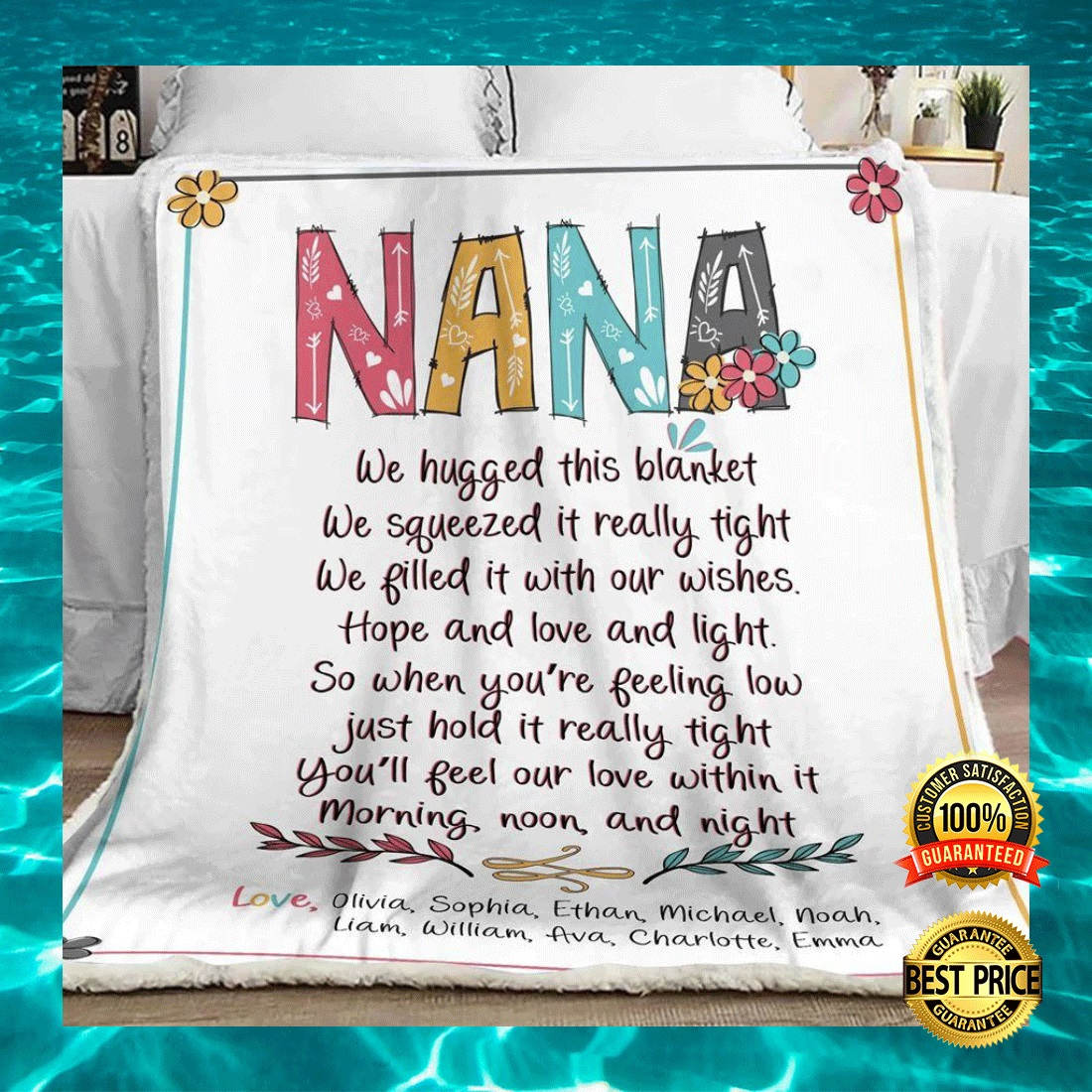 Personalized nana we hugged this blanket we squeezed it really tight blanket 4