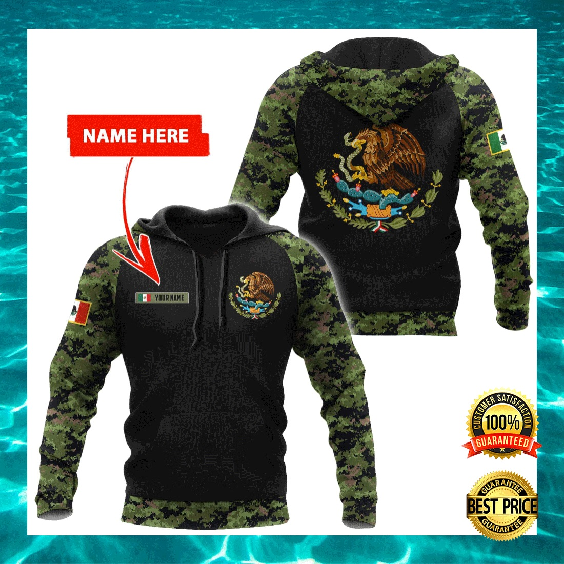 PERSONALIZED MEXICAN COAT CAMO ALL OVER PRINTED 3D HOODIE 4