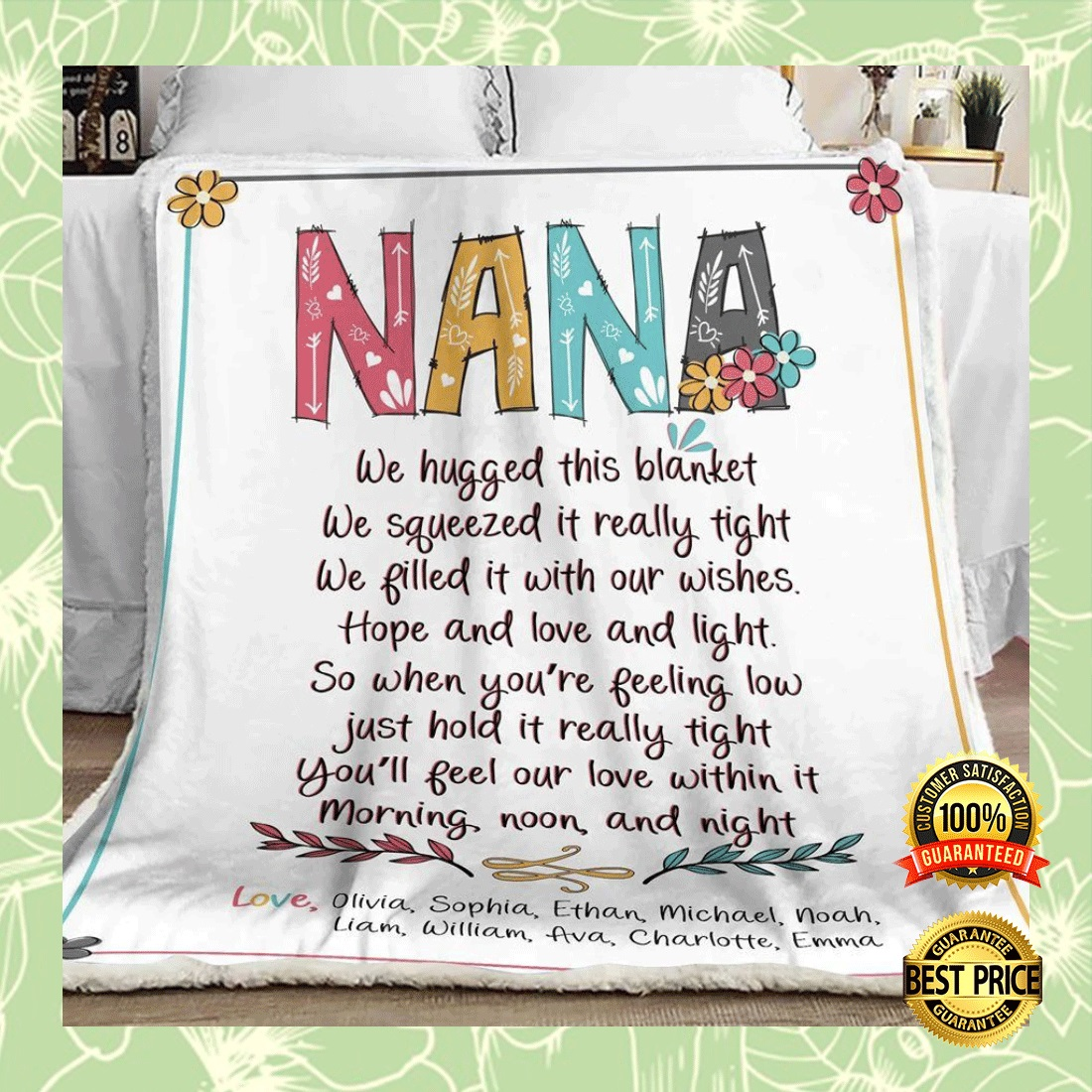 Personalized nana we hugged this blanket we squeezed it really tight blanket 5