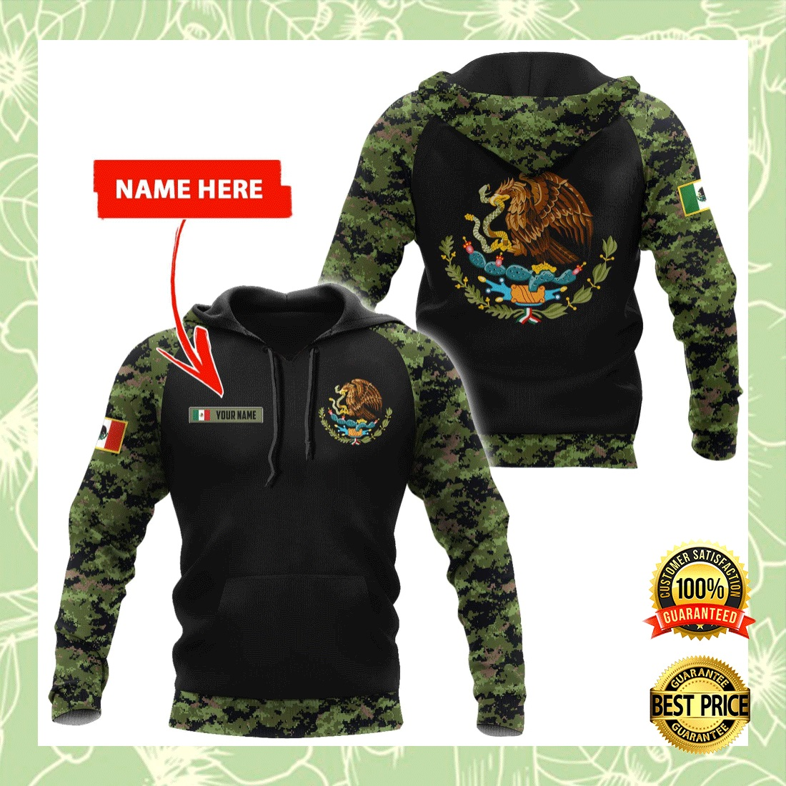 PERSONALIZED MEXICAN COAT CAMO ALL OVER PRINTED 3D HOODIE 5