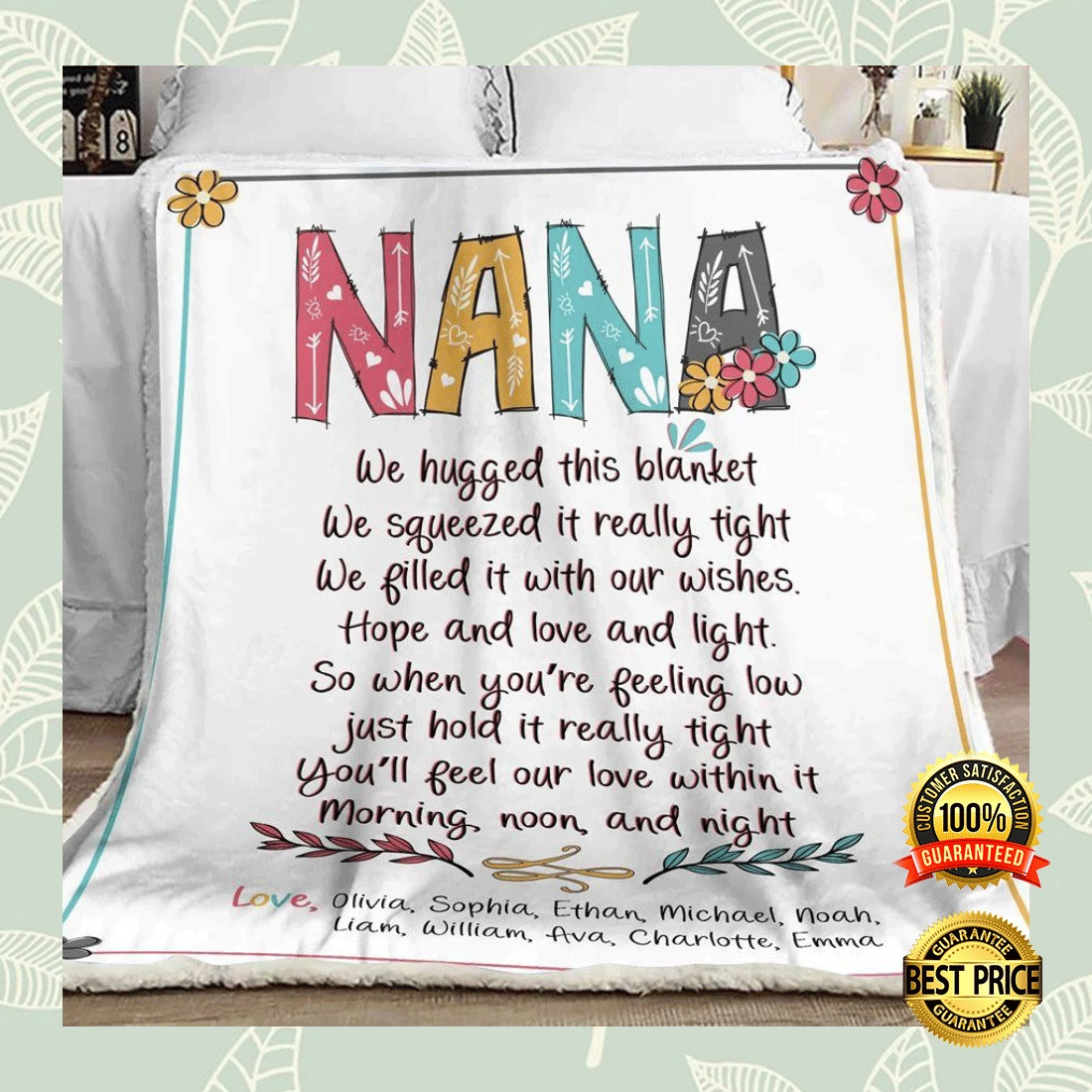 Personalized nana we hugged this blanket we squeezed it really tight blanket 6