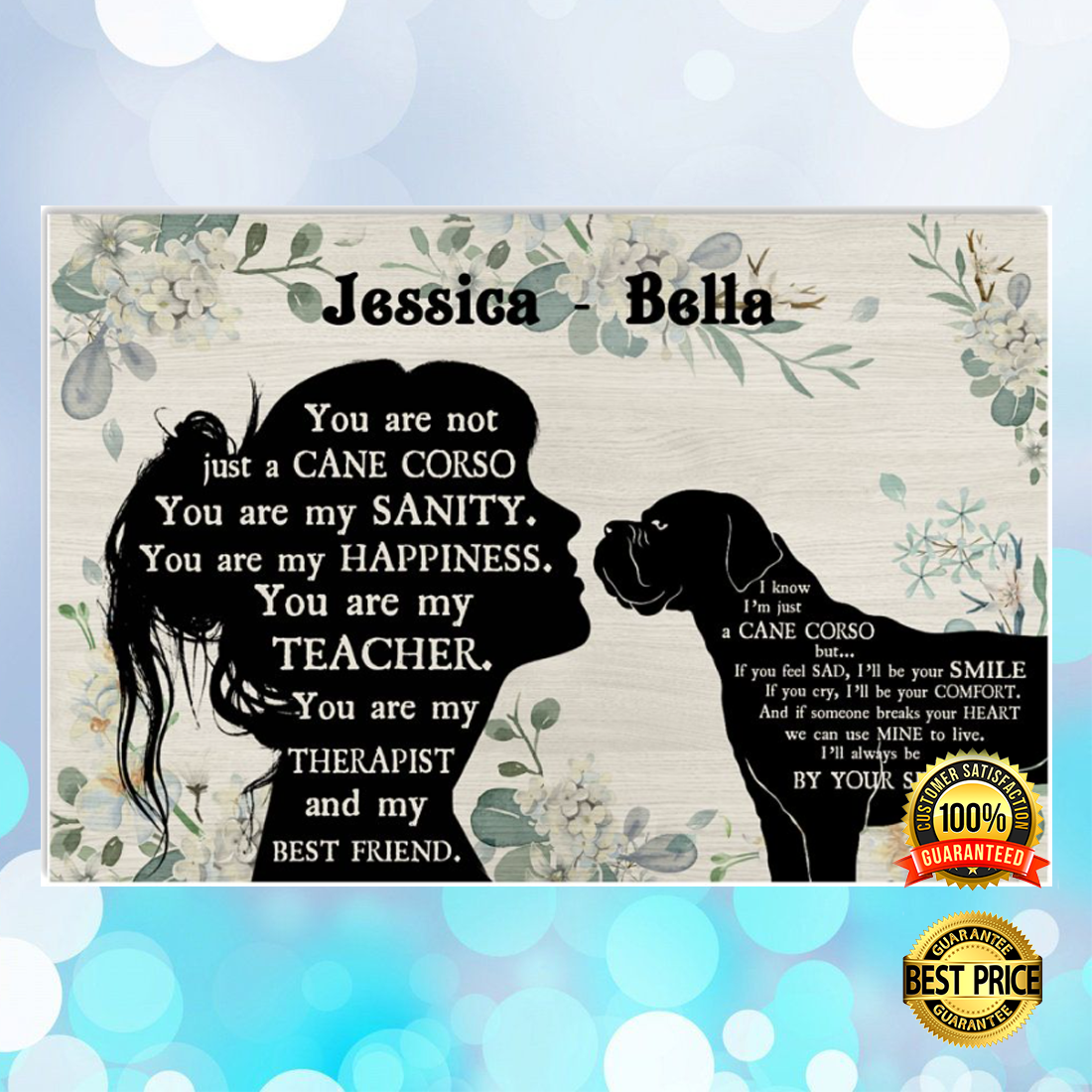 PERSONALIZED GIRL AND CANE CORSE YOU ARE NOT JUST A CANE CORSE POSTER 6