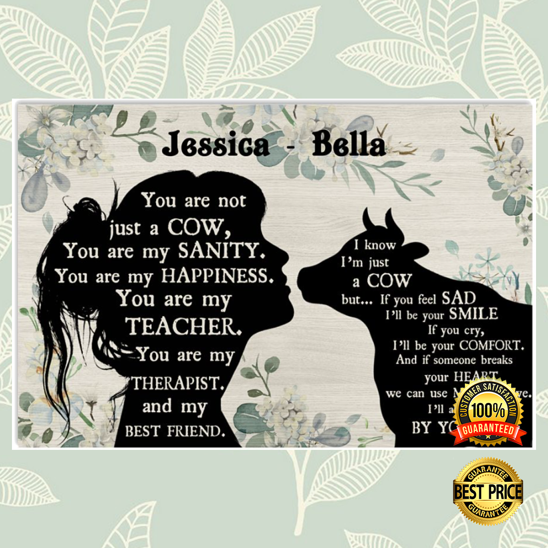 PERSONALIZED GIRL AND COW YOU ARE NOT JUST A COW POSTER 5