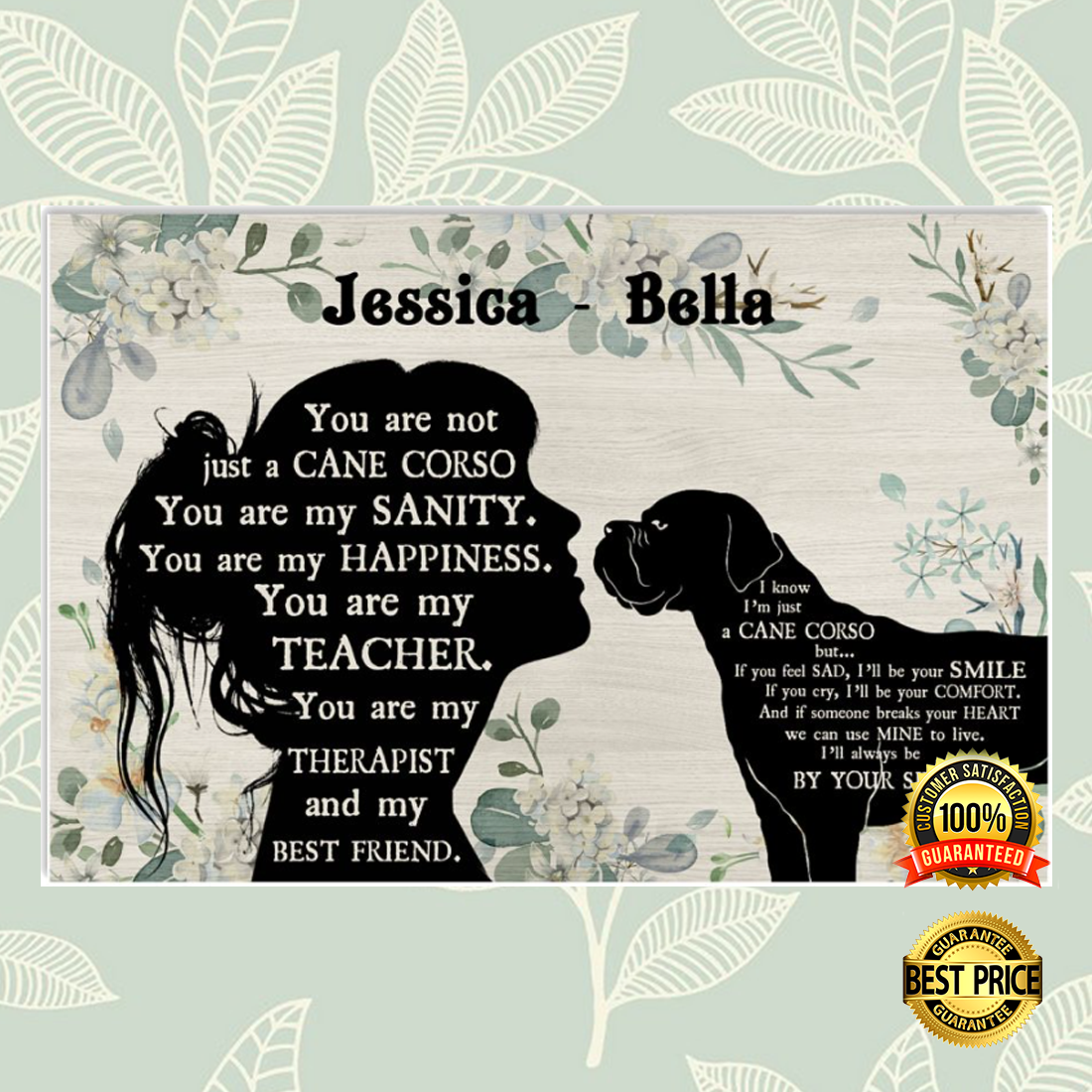PERSONALIZED GIRL AND CANE CORSE YOU ARE NOT JUST A CANE CORSE POSTER 5