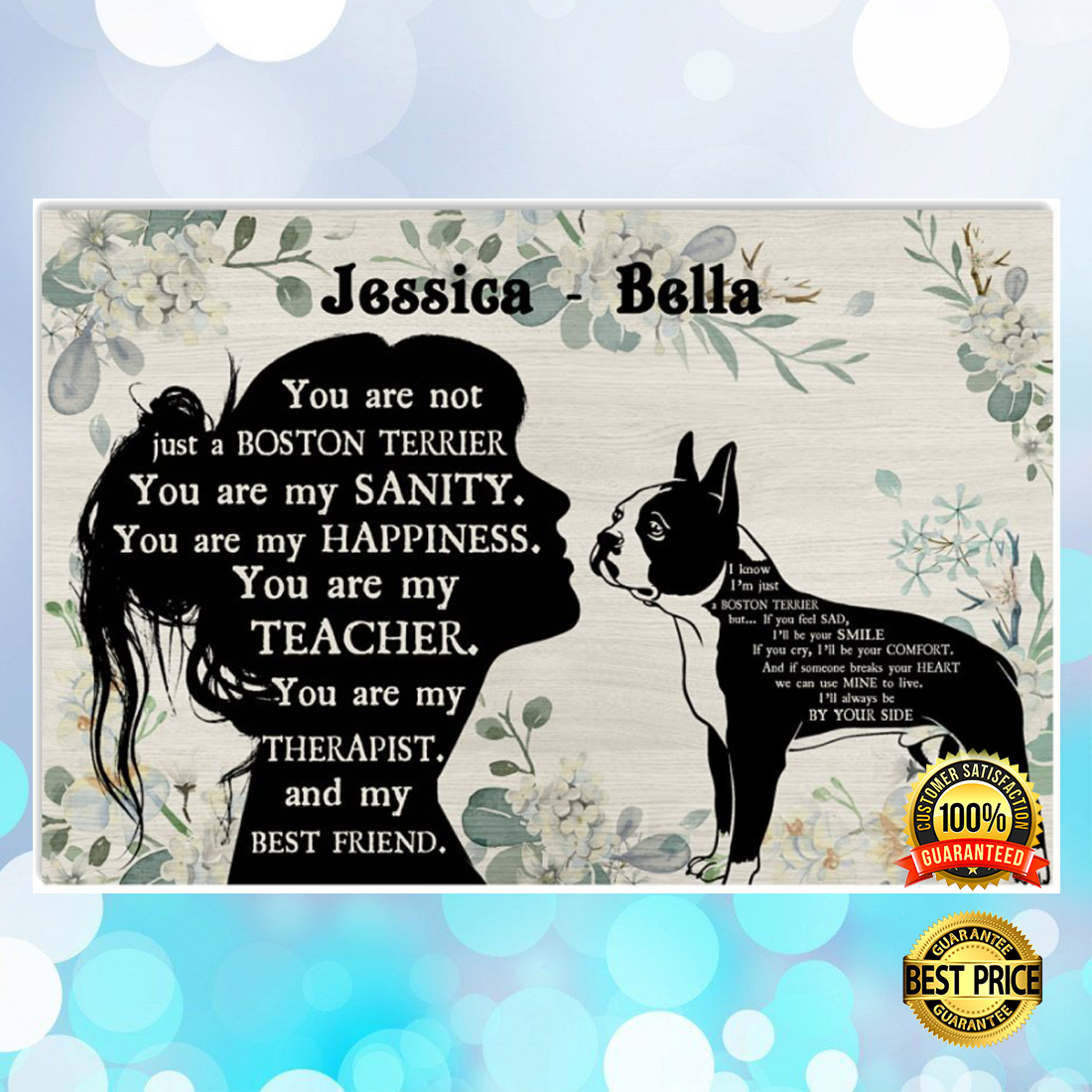 PERSONALIZED GIRL AND BOSTON TERRIER YOU ARE NOT JUST A BOSTON TERRIER POSTER 6