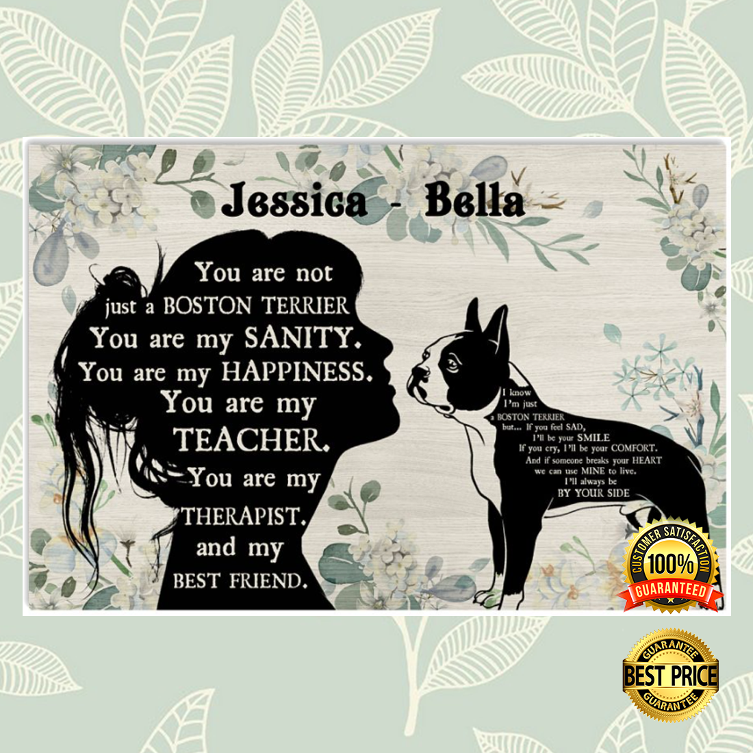 PERSONALIZED GIRL AND BOSTON TERRIER YOU ARE NOT JUST A BOSTON TERRIER POSTER 5