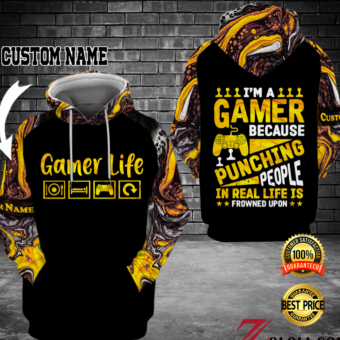 I'M A GAMER BECAUSE PUNCHING PEOPLE IN REAL LIFE IS FROWNED UPON ALL OVER PRINTED 3D HOODIE 4