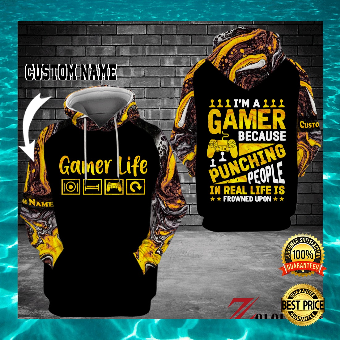 I'M A GAMER BECAUSE PUNCHING PEOPLE IN REAL LIFE IS FROWNED UPON ALL OVER PRINTED 3D HOODIE 6