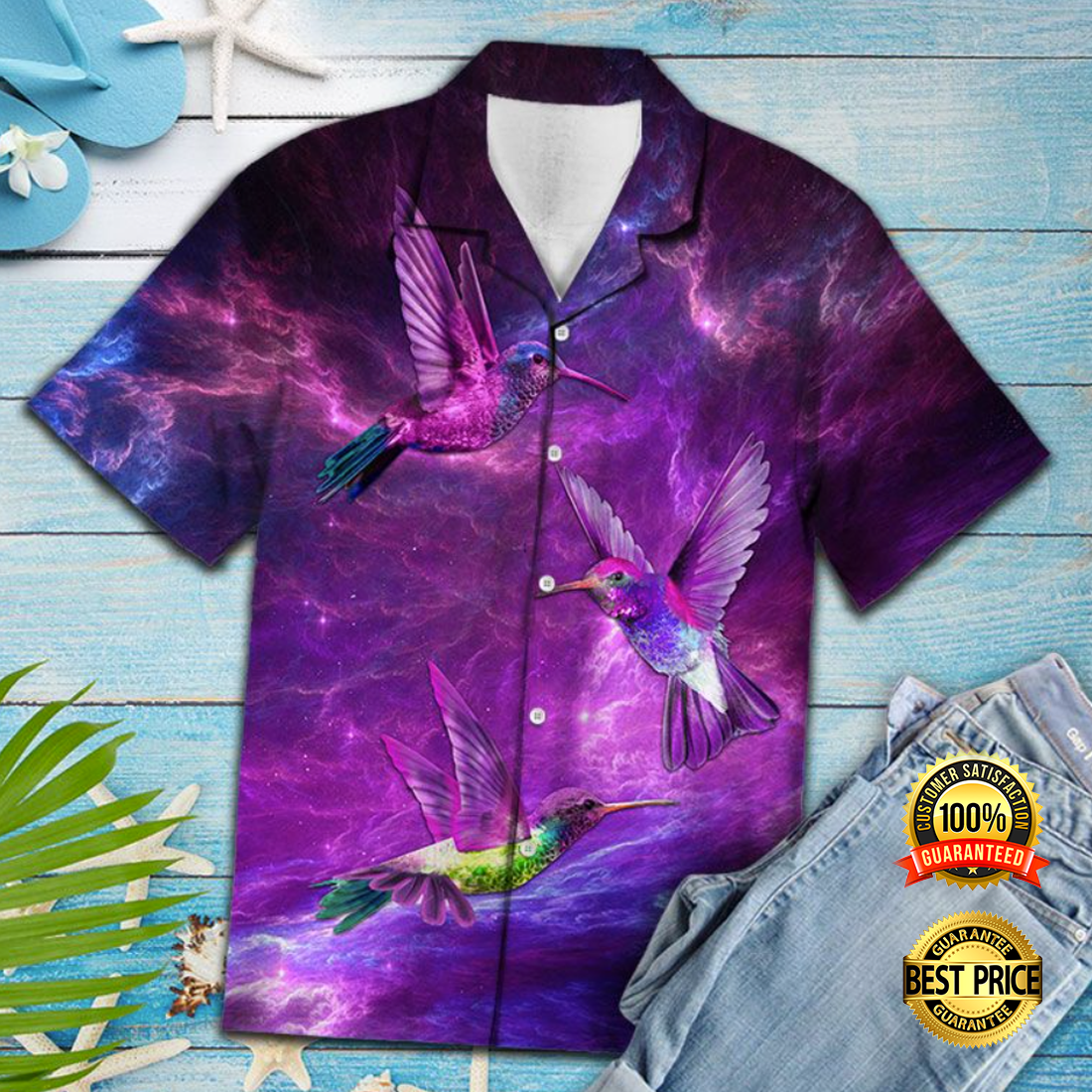 HUMMINGBIRD PURPLE HAWAIIAN SHIRT 5