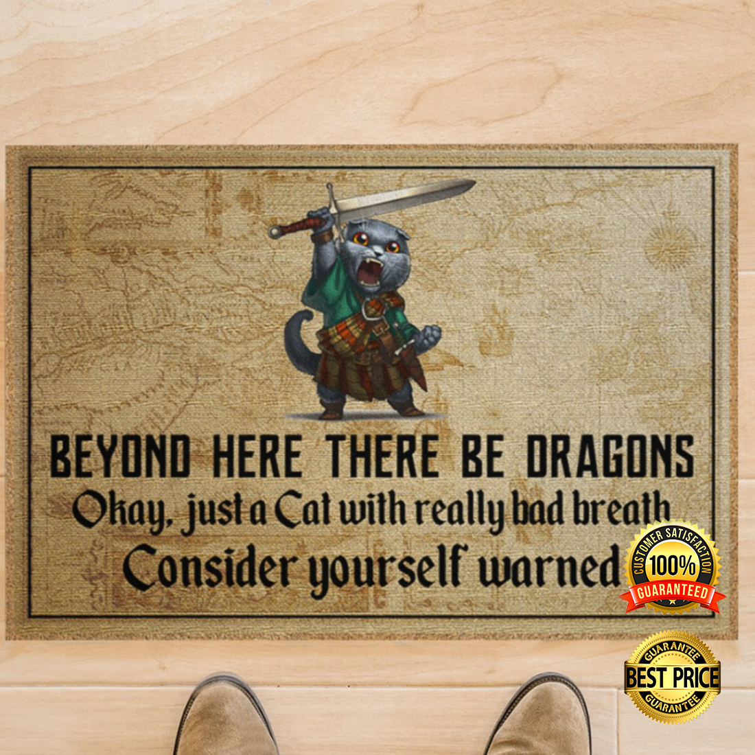 BEYOND HERE THERE BE DRAGONS OKAY JUST A CAT WITH REALLY BAD BREATH DOORMAT 5