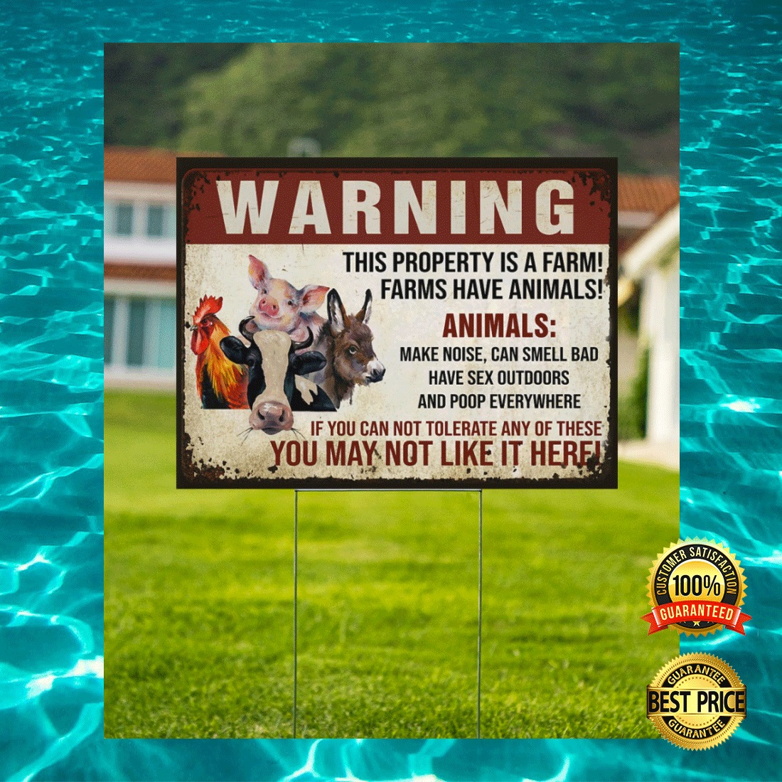 WARNING THIS PROPERTY IS A FARM FARMS HAVE ANIMALS YARN SIGN 5