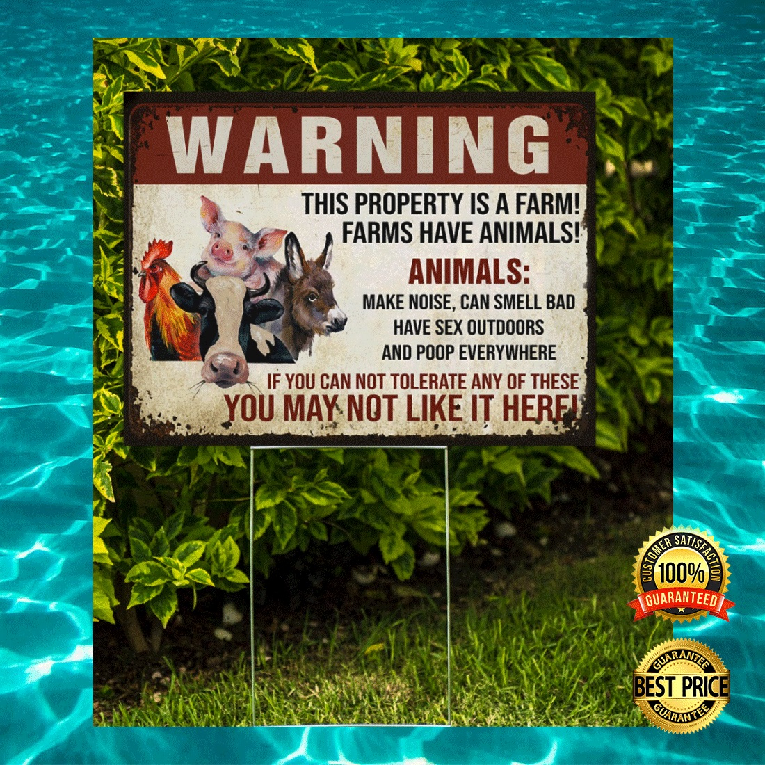 WARNING THIS PROPERTY IS A FARM FARMS HAVE ANIMALS YARN SIGN 7
