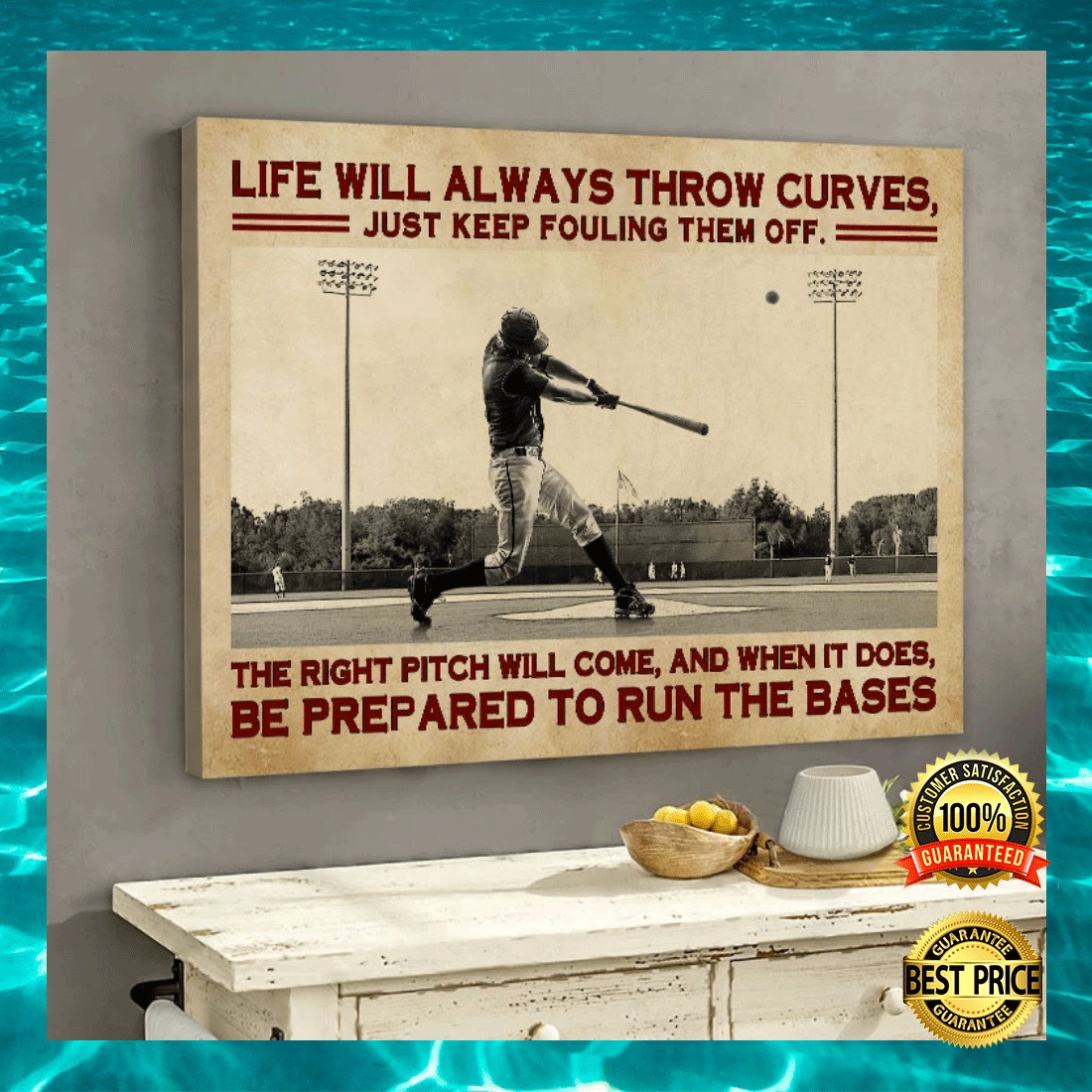 BASEBALL LIFE WILL ALWAYS THROW CURVES JUST KEEP FOULING THEM OFF CANVAS 5