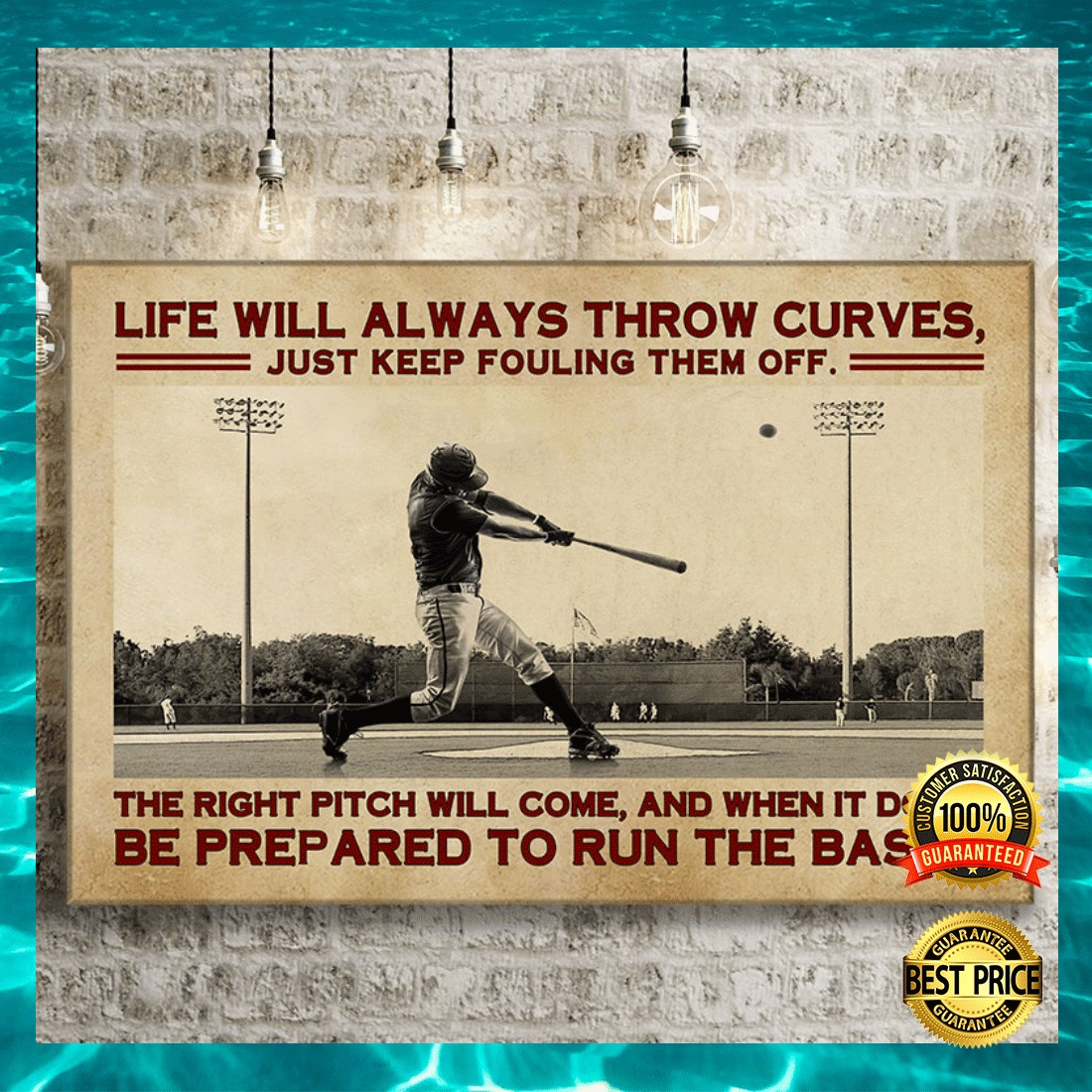 BASEBALL LIFE WILL ALWAYS THROW CURVES JUST KEEP FOULING THEM OFF CANVAS 4