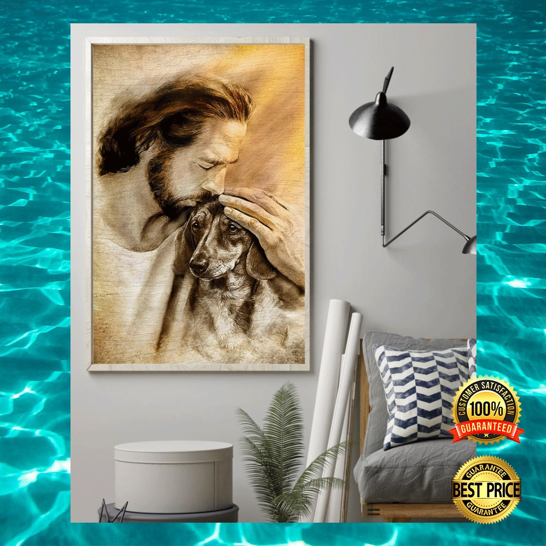 JESUS WITH LOVELY DACHSHUND POSTER 3