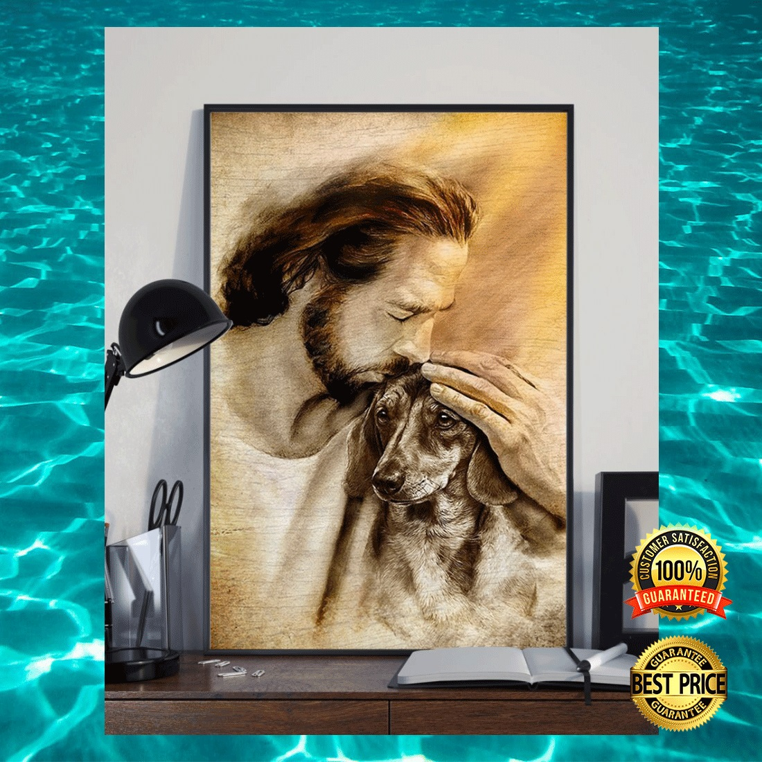 JESUS WITH LOVELY DACHSHUND POSTER 4